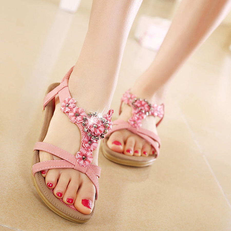 7d16c0caec5 Fashion new sweet women soft flat bottom beach casual all match ladies  sandals with flower Bohemia style sandals hot sale
