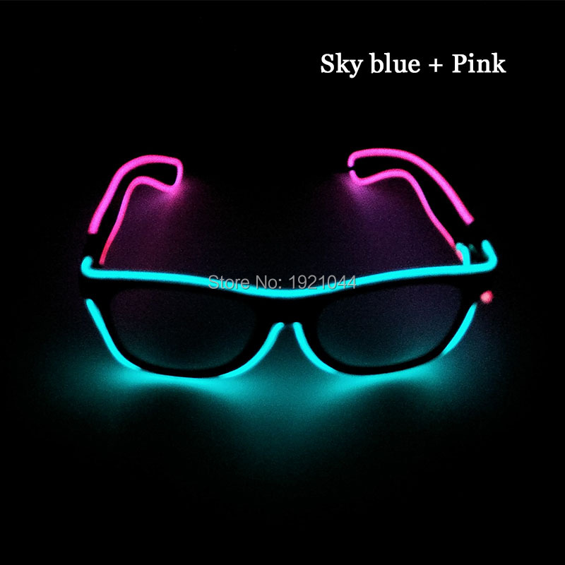 Hot Sales Double Color Transparent blue +Pink EL Wire Glowing Sunglasses Led Neon Party Props Neon glow light For Carnival Decor