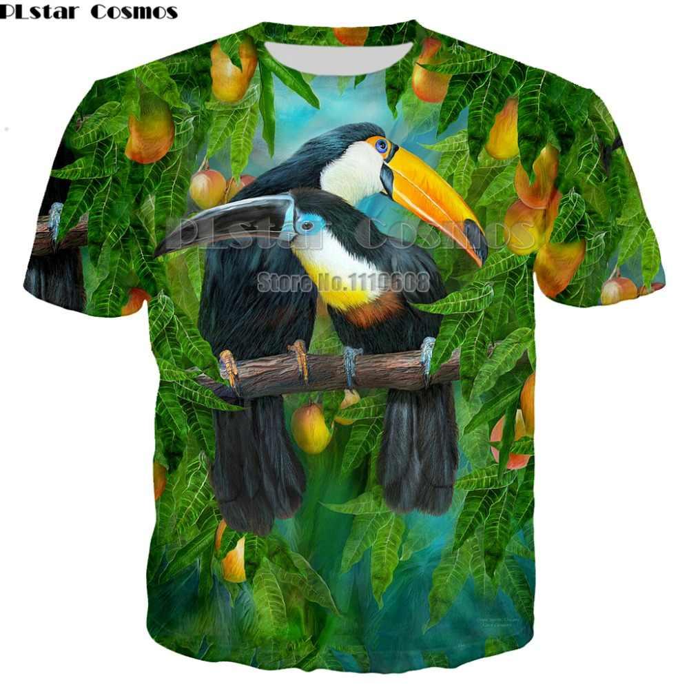 אופנה מותג חולצה גברים/נשים O-צוואר 3d חולצה הדפסת צבעוני תוכי T חולצת קיץ צמרות טיז יוניסקס