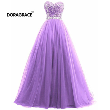 Doragrace Glamorous A Line Floor-Length Sweetheart Sleeveless Crystal Sequins Evening Dresses Long Prom Gowns