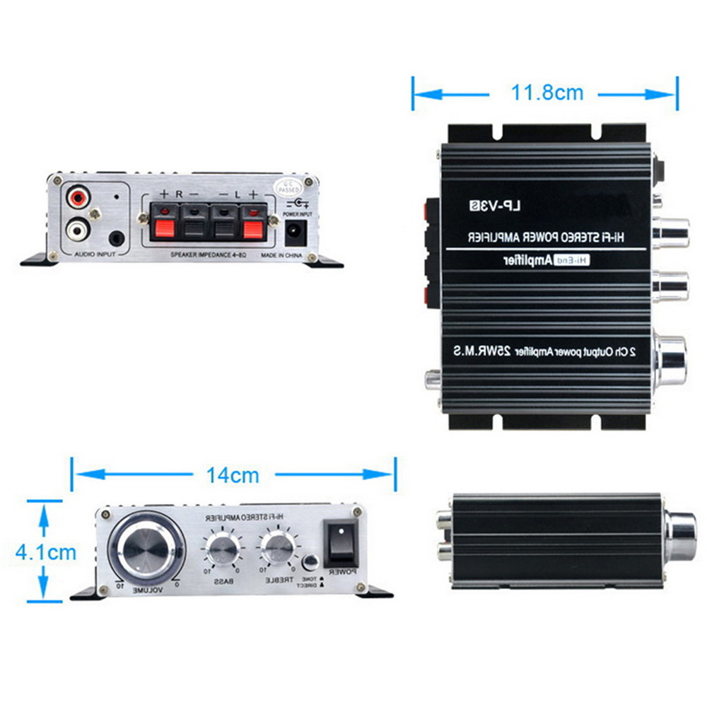 Black Car Audio Speaker Songs Track Stereo Connection 700W Power 12V Mini Digital MP3 Volume Control 3.5mm Hi-Fi LP-V3 Amplifier ...
