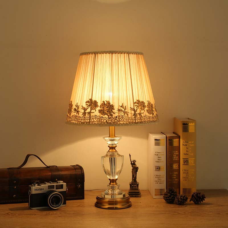 Modern Crystal Table Light Fabric Lampshade Living Room Bedroom Bedside Table Lamp Home Lighting Antique Brass Iron E27 110-220V decorative table lamp vintage wood plastic rustic style brief modern lampshade living room bedroom 110 220v desk light 1936