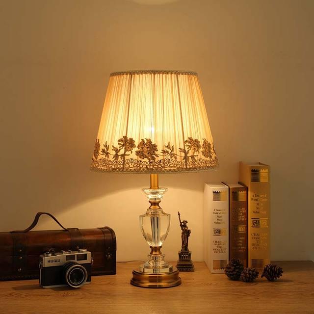 Moderne Kristall Tischleuchte Stoff Lampenschirm