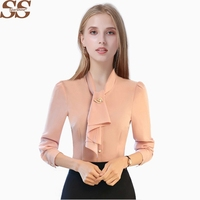 SPARSHINE White Chiffon Blouse Office Lady Female Shirt Blusas Chemise Femme Blusa Camisa Feminina Casual Women