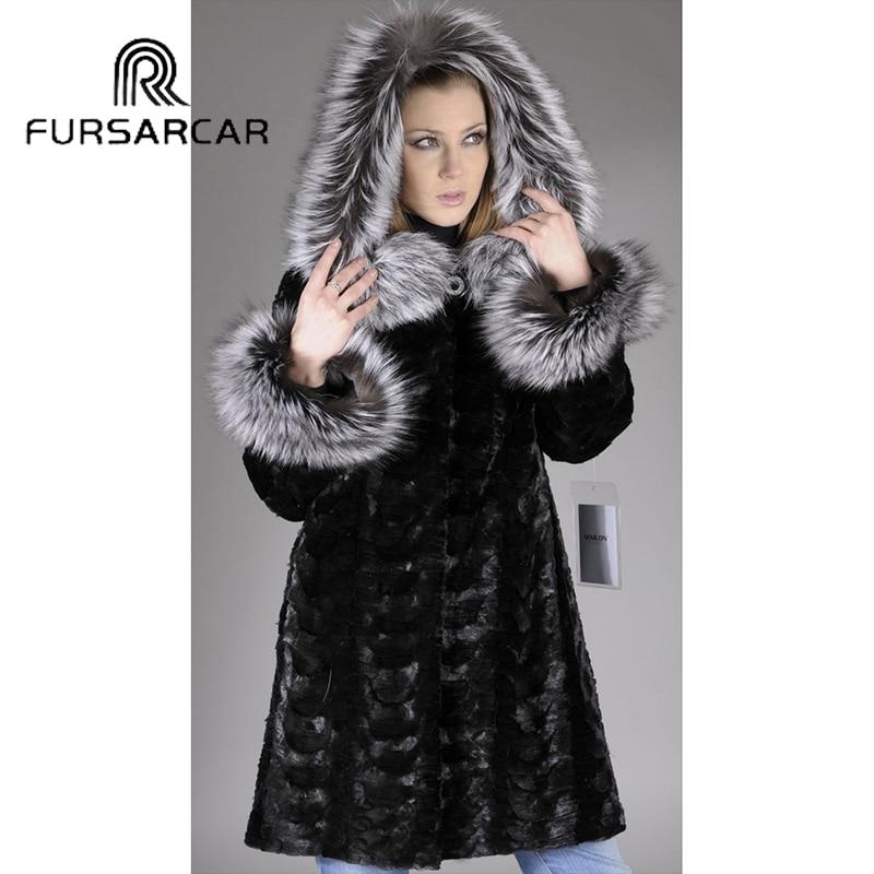 Luxe Manteau De Couleur Femmes Noir D'hiver Véritable Naturel Fursarcar Fourrure Capot Silver Femelle Fox Vison À Avec L'intérieur SFYxzwgqg