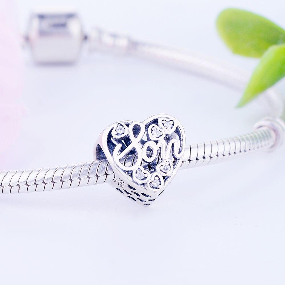 Authentic 925 Sterling for love coeurs Main Perles Fit Original Bracelets Argent
