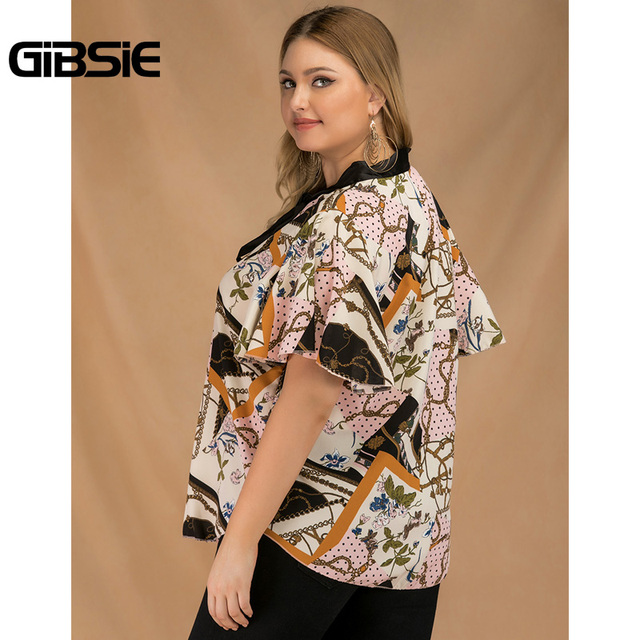 GIBSIE Plus Size Elegant Bow Tie Neck Butterfly Sleeve Blouse Women 2019 Summer Office Lady Casual Mixed Print Shirt Top Female 2