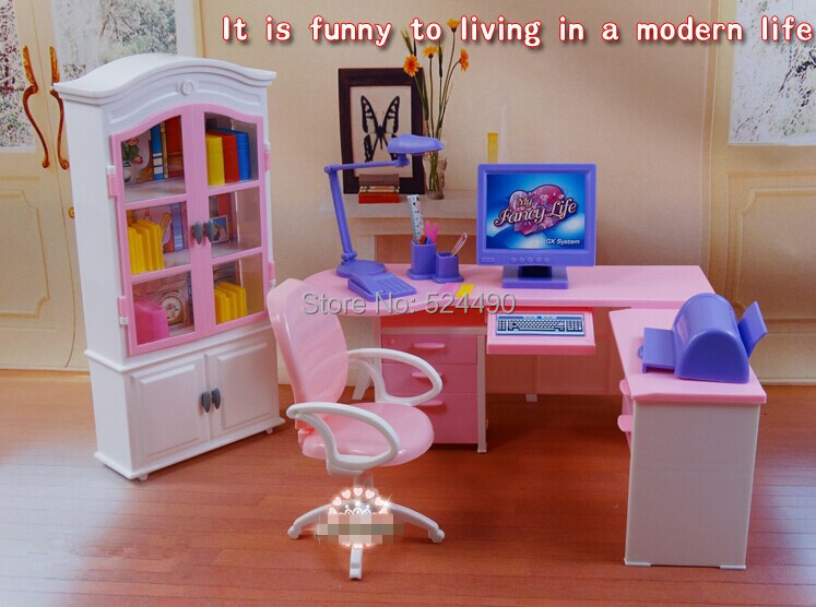 Handmade Dollhouse Mini Furniture Home Office Closet Desk Lamp Computer  Chair Set For Barbie Kurhn Doll Free Shipping Girl Gift In Dolls  Accessories From ...