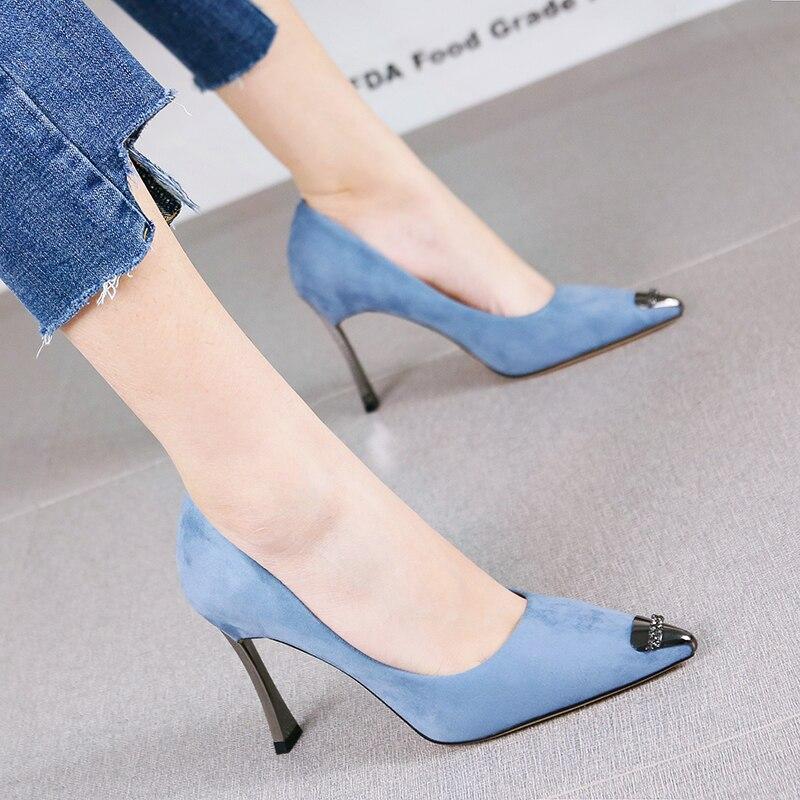 Fille Robe Pointu Chaussures Glossy1blue Pompes Coréenne Tempérament Aiguilles Printemps Bleu De Suede Daim Banquet Métal 2019 Blue Talons Français Version black1beige1 OuPZikXT