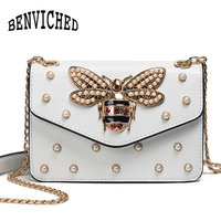 BENVICHED Women Brand Desinger Rhinestones Bee PU Leather Shoulder Bag Small Crossbody Bag Chain For Girls