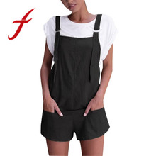 Feitong Women Elastic Waist Dungarees Linen Cotton Pockets Rompers Playsuit Shorts Pants Overalls Rompers combinaison femme