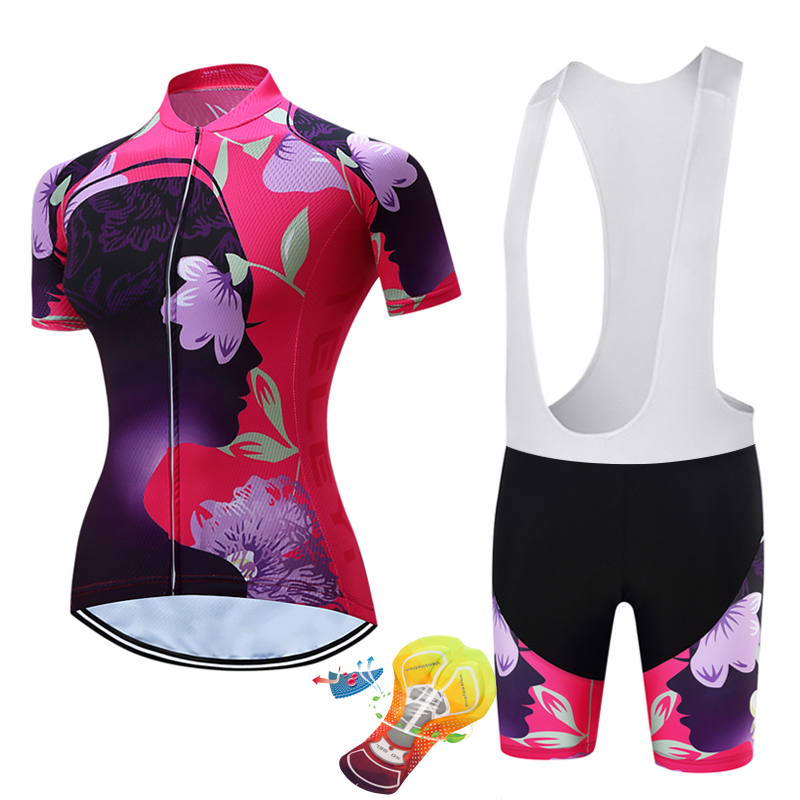 2018 teleyi Women Cycling Set Kit Breathable Quick Dry Mountain Bike Bicycle Jerseys Set Cycling Clothing