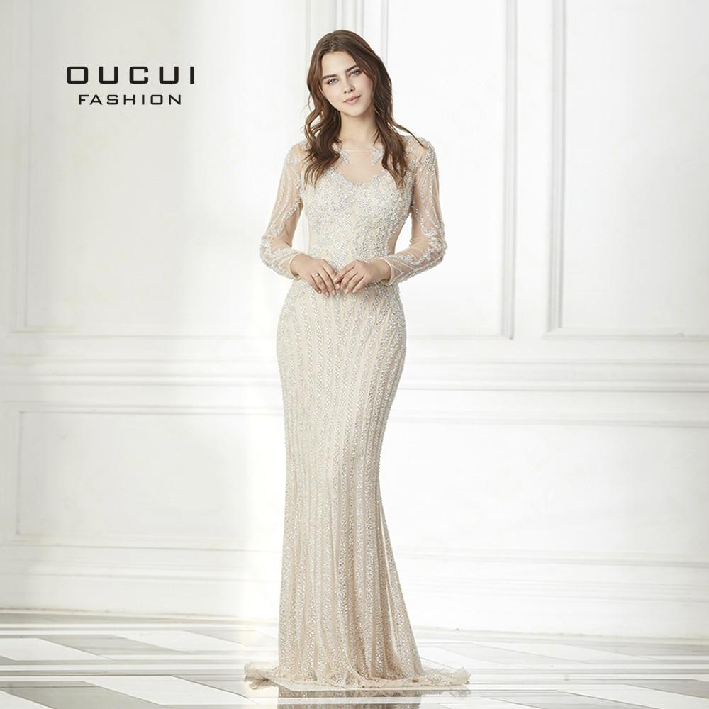 Real Photo Long Sleeves Tulle Mermaid Gown Formal Long Prom Dresses Elegant Gray Color OL103158