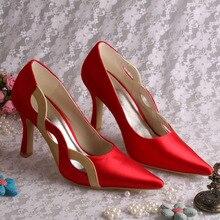Wedopus MW196ยี่ห้อสุภาพสตรีส้นแหลมนิ้วเท้ารองเท้าสีแดงซาตินรองเท้าแต่งงานD Ropshipping
