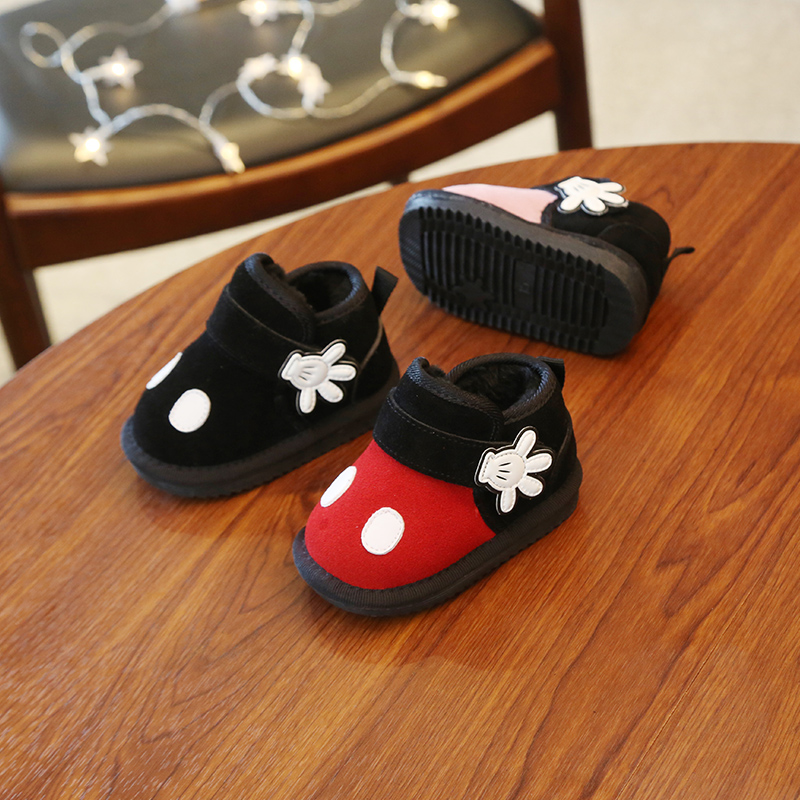 New In Stock Cute Cartoon Mickey Baby Boy Snow Boots Genuine Leather Infant Girl Winter Shoes Little Kids Toddler Boot