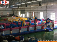 super market giant inflatable fun city for children, digital car cartoon theme inflatable games