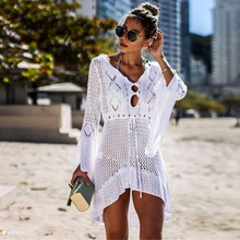 Crochet White Knitted Beach 2019 Women Cover Up Dress Tunic Long Pareos Bikinis Ups Swim Robe Plage Beachwear