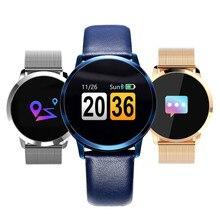 Tela Colorida Sensível Ao Toque Q8 Smartwatch Relógio Inteligente 1080 p Dispositivos Wearable Eletrônica IP67 À Prova D' Água Esporte Da Aptidão Das Mulheres Dos Homens Pulseira