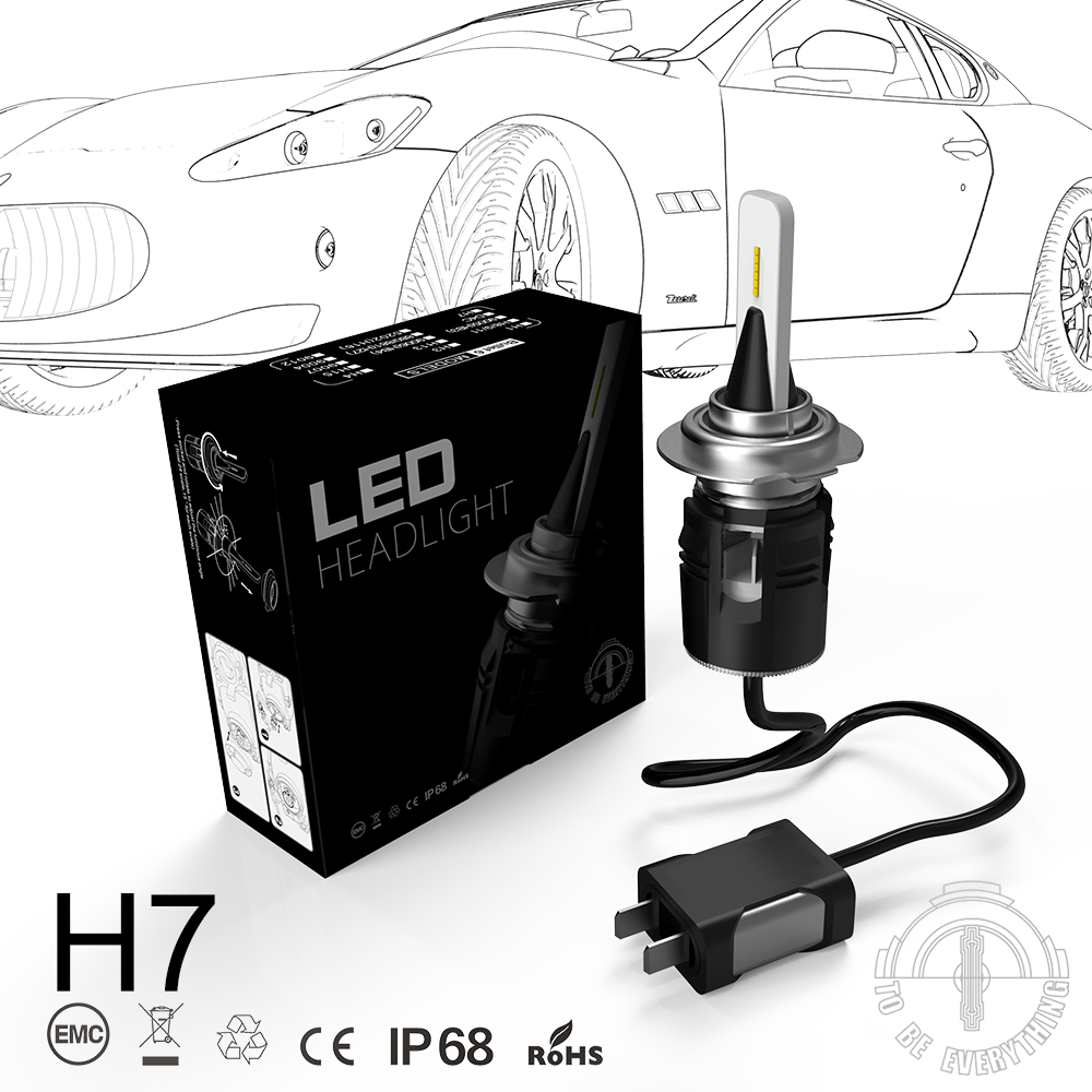 1 Set H7 Bullet B6 LED Headlight Slim Kit 42W 5200LM CSP Y11 Chips All in