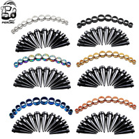 6PCS/Lot Hot Selling Black Ear Plug Acrylic Plug Tunnel Set Bulk Lot Tapers Stretcher Spike Ear Expander Kit for Women Men