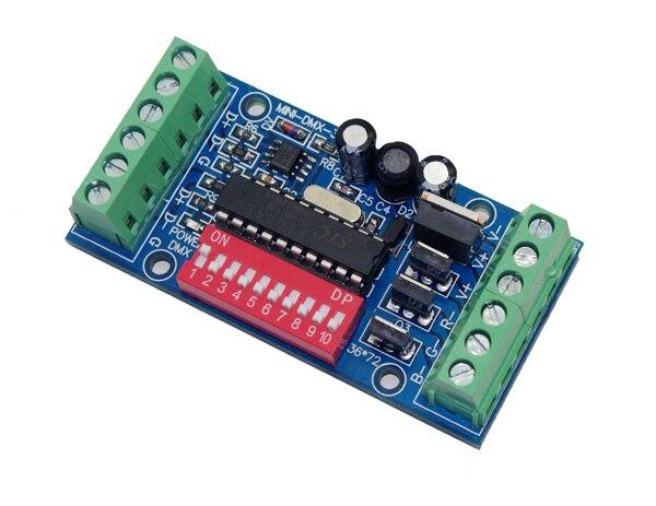 10 pieces frete grátis MINI 3 canais DMX512 RGB controlador fácil 3CH DMX512 decodificador DC5 24V entrada de cada canal max 15A - 2