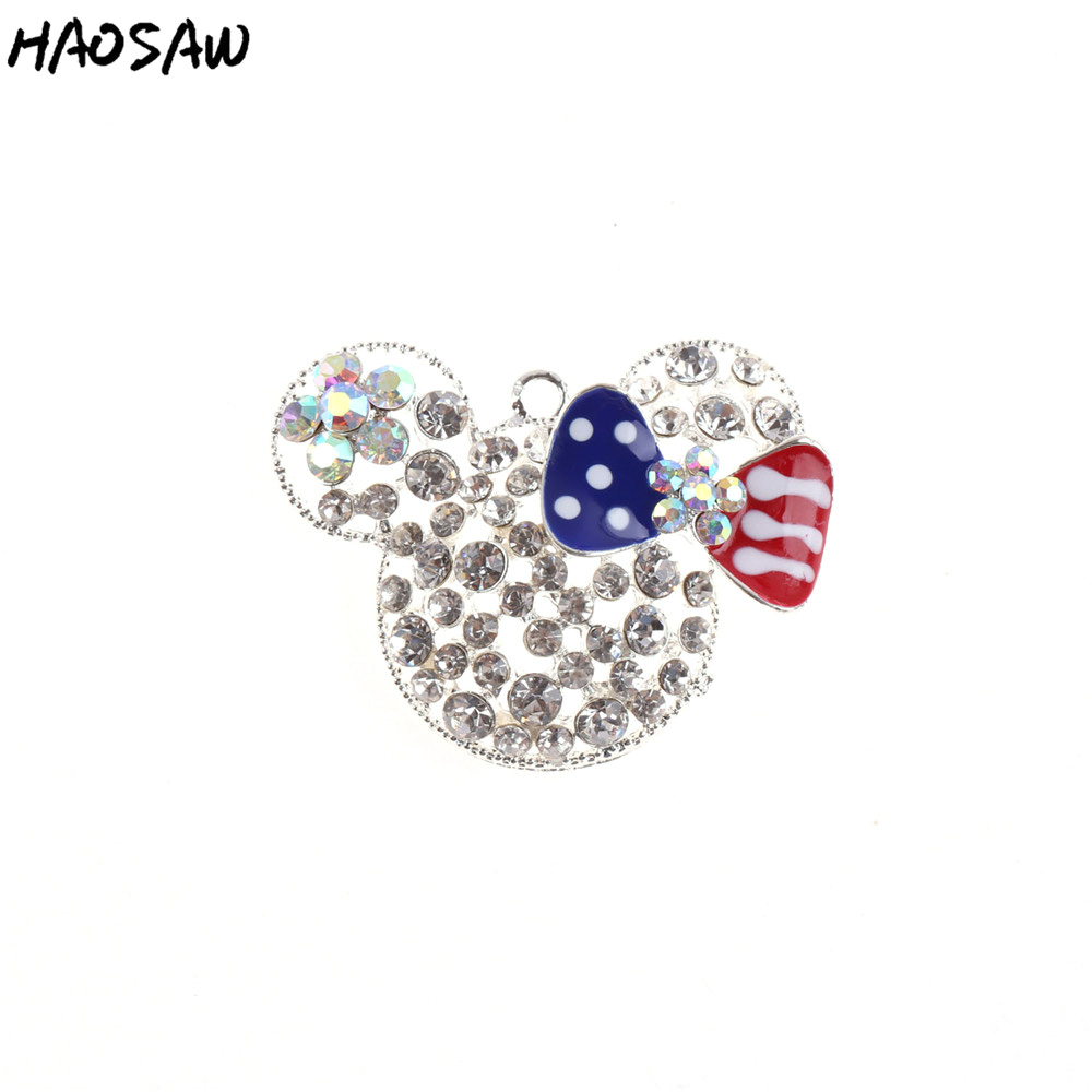 52*38MM 1pcs With No Chain Rhinestone Pendant Bubblegum Necklace Classic Silver With No Red&Blue Bow Mouse Pendant KQPP-909758