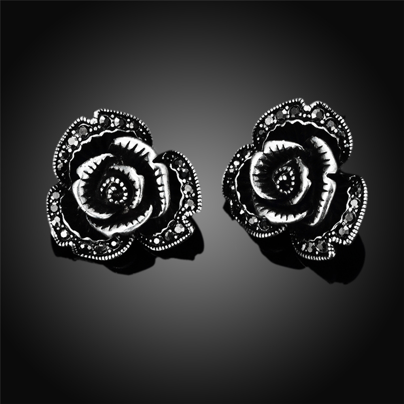 Vintage Rhinestone Earrings Wholesale Retro Stud Earrings Jewelry mens earrings Neo-Gothic big flower black stud earrings ...