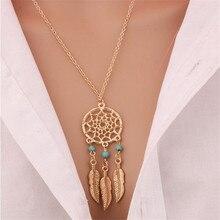 Dije de atrapa sueños de moda Mandala Lotus collares ffor mujeres Vintage oro cazador de sueños de plumas accesorios para fiesta, joyería