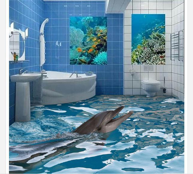 3D Floor painting custom mural beauty 3 d bathroom floor tile map 3 d floor  pvc wallpaper home decoration-in Wallpapers from Home Improvement on ...
