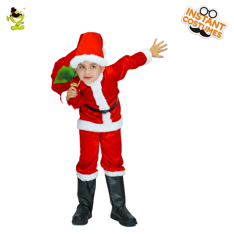 Hot-selling Unisex Kids Red Santa Claus Costumes Smart Presents Givers Role Play Fancy Dress for Christmas&Carnival Party