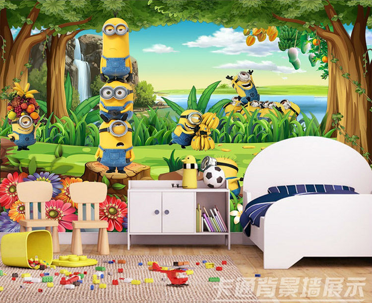 US $16.73 38% OFFFunny Minions Wallpaper 3D Custom photo wallpaper Cartoon  Wall Mural Forest Kid Bedroom Nursery Childrenu0027s Hospital Room decor-in