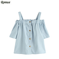 ROMWE Cold Shoulder Tops Blue Blouses And Shirts In Women Half Sleeve Open Shoulder Shirred Top