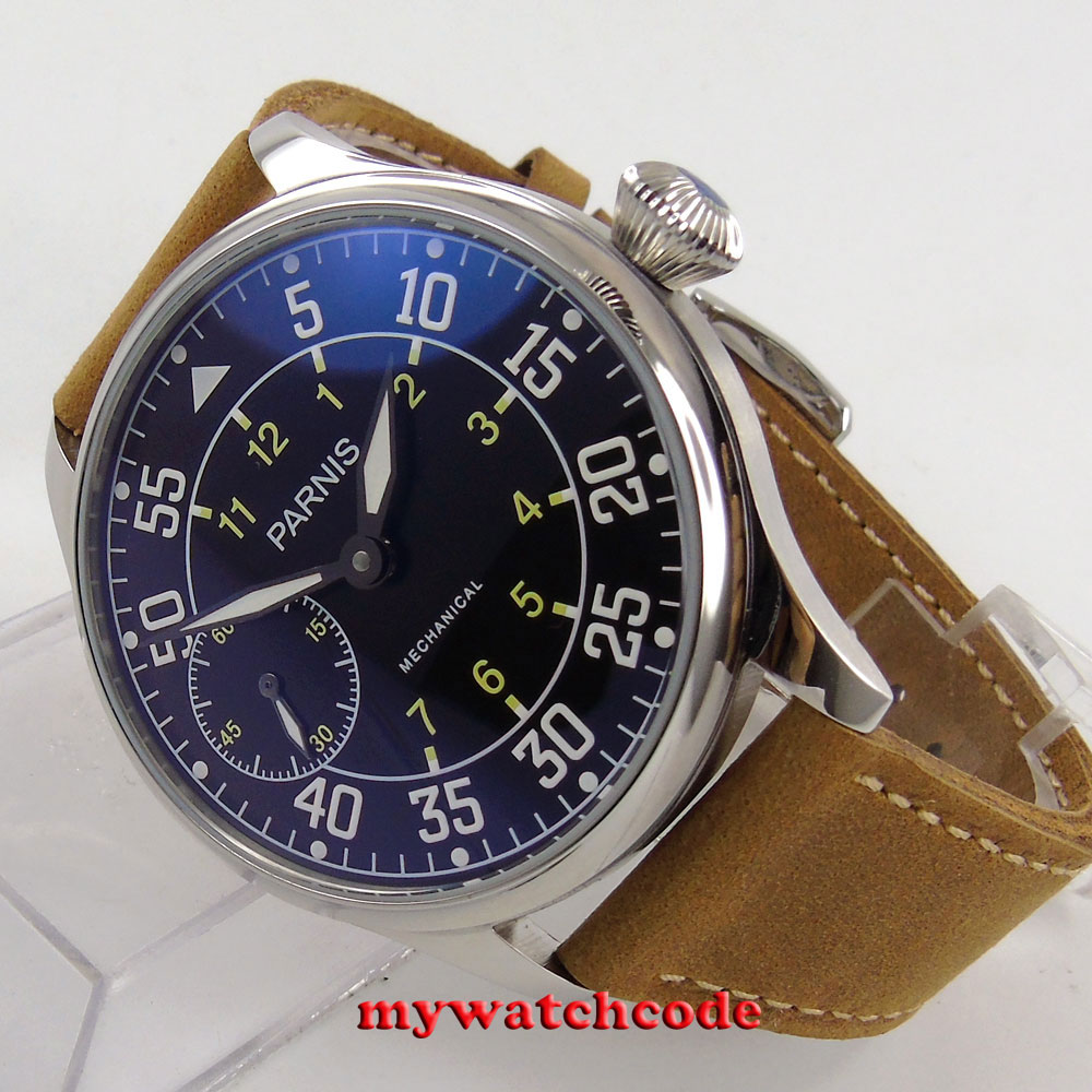 44mm parnis black dial cow leather hand winding 6497 mechanical mens watch P647B цена и фото