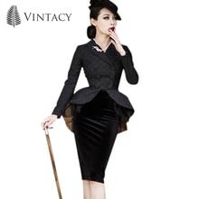Vintacy 2017 vintage suit jacket black cotton dress autumn women dress mesh patchwork bodycon polka dots