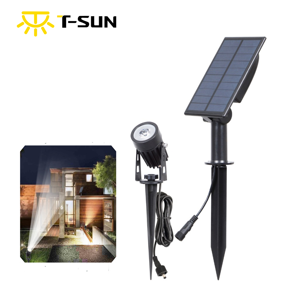 T-SUN LED 6000K bright Solar Spotlights Waterproof Outdoor Solar Light Auto ON/OFF Solar Wall Lights for Garden Driveway Pathway