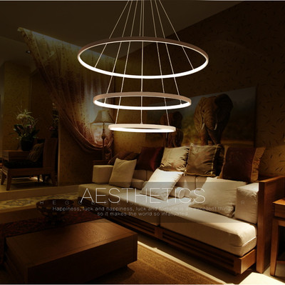 NEW LED 90W 80+60+40CM Pendant Light Modern Design/ LED Ring Special for office,Showroom,LivingRoom 110-240V