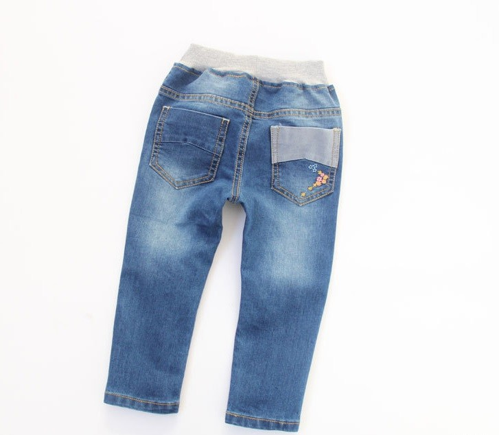 New Arrival Baby Girls Spring Denim Jeans Girls Flower-embroidery Jeans Child Cotton Casual Jeans Kids Spring Autumn  Long Pants