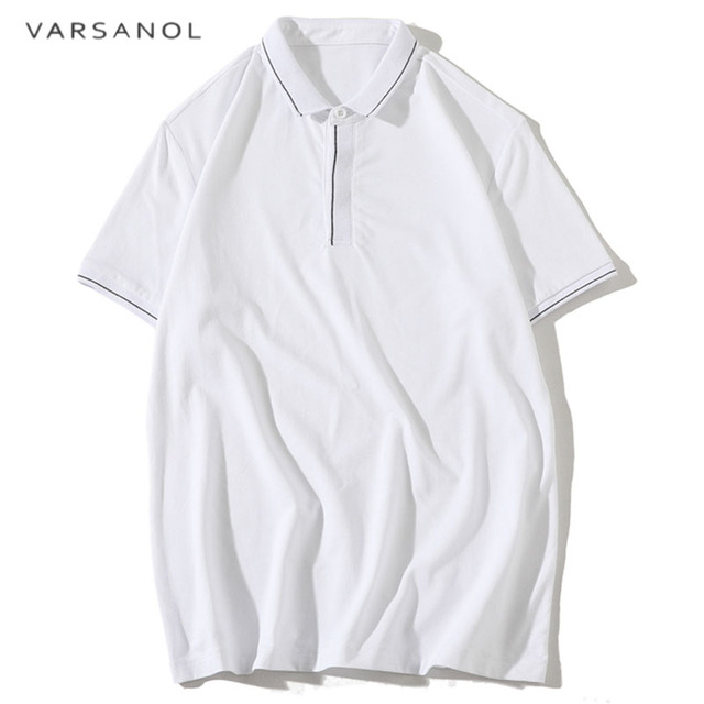 Varsanol Black Polo Shirts Men Cotton Summer Polos Breathable Tops Short  Sleeve Casual Business Solid Color Slim Fit Polo Shirt 4d2a48b59c775