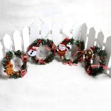 1pcs Snowman Christmas Deer Cloth Art Wreath Rattan Reed Wreath Garland Christmas Decoration Ornaments Party Supplies Home Decor