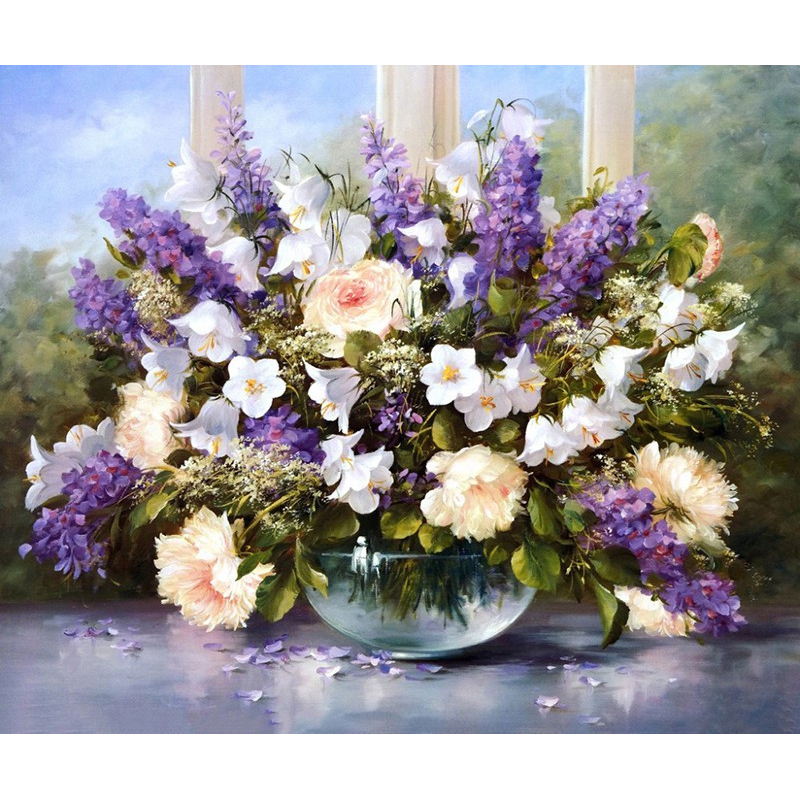 0329ZC162 Home wall Deco picture DIY number oil painting children Graffititwo lavender flowers painting by numbers pretty girl in the lavender field oil painting