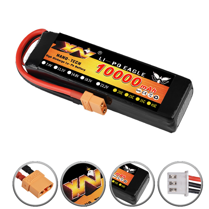 RC Voiture Lipo Batterie 2 s 3 s 7.4 v/11.1 v 10000 mah 35C Max 70C XT90/ XT60/T Plug Pour Rc Avion Traxxas Voiture RC Camion