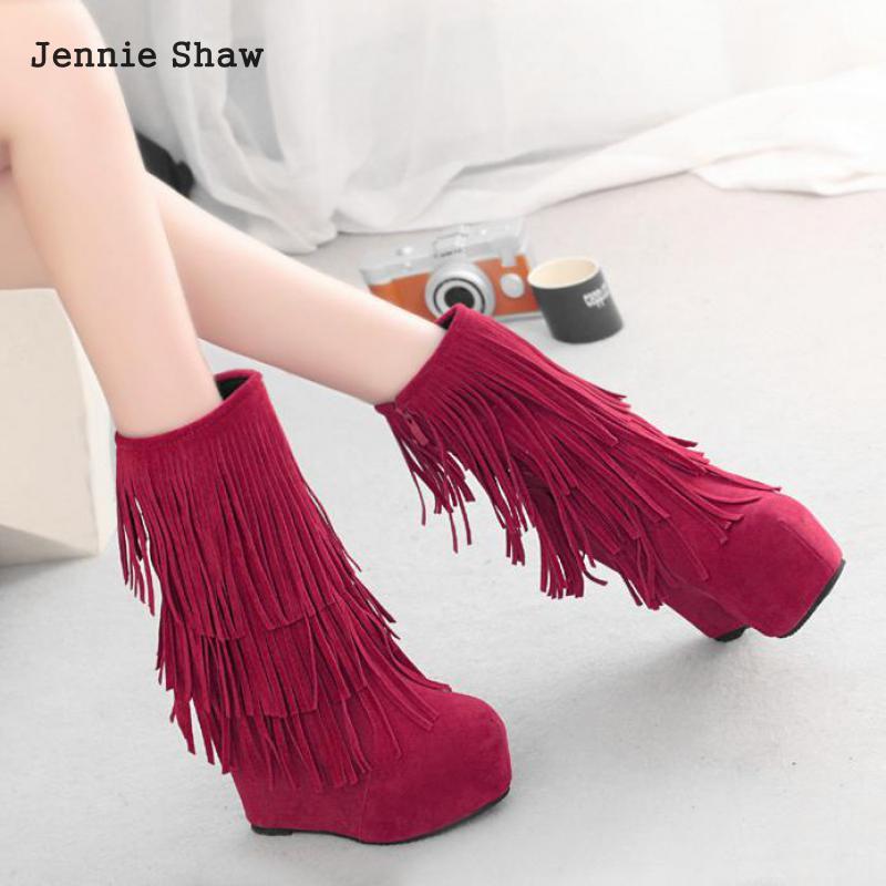 2 1 2017 Style Flecos Tobillo Mujeres Las Nueva Zapatos 2 Aumento style Alto 1591 De Tacón Con Botas Otoño Cuñas Sys style Plataforma wU4qRw