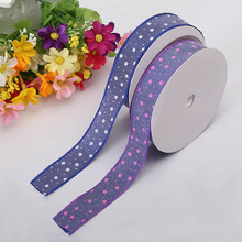 2.5cm Silk Ribbon Cowboy White Stars Stitching Clothing Material DIY Single-Sided Gift Wrapping Christmas Decoration