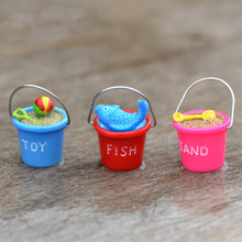 Miniature Fishing Bucket Bonsai Figurine Sand Toy Home Decoration Mini Fairy Garden Simulation statue toy resin craft TNB044
