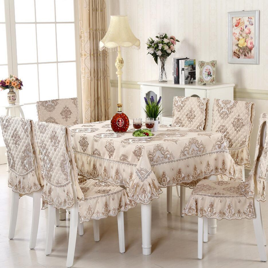 sunnyrain 5 7 piece luxury table cloth set lace tablecloth chair cover for dining room table. Black Bedroom Furniture Sets. Home Design Ideas