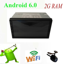 Android 6.0 2din car radio gps with 2G RAM Quad core 16G cpu bluetooth usb sd steering wheel control rear view camera gps map