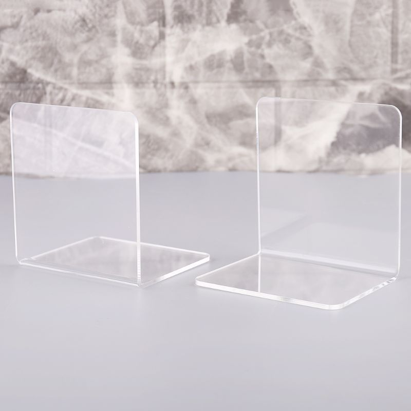 Bookends Candid 2pcs Clear Acrylic Bookends L-shaped Desk Organizer Desktop Book Holder School Stationery Office Accessories Be Shrewd In Money Matters Office & School Supplies