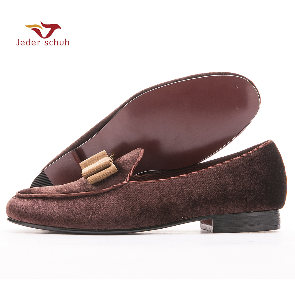 Velvet belgian loafers with suede detail, Coffee gros-grain trims and bow on top men flats wedding and party shoes