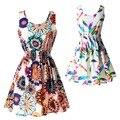 21 Mujeres Del Estilo Del Tanque Vestido de Gasa de la Impresión Floral de la Playa Del Verano Sin Mangas Del O-cuello Atractivo Del Vestido de Tirantes