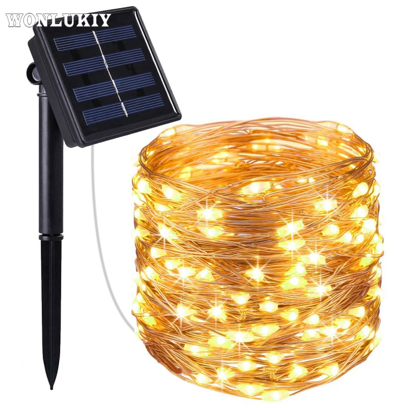 20M Solar Powered String Lights 200 Led Colorful Silver Copper Wire Lamp Fairy Garland Christmas Holiday Garden Decoration Light